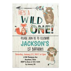 Wild One Birthday Invitation - Tribal Animals - giftidea gift present idea one first bday birthday 1stbirthday party 1st