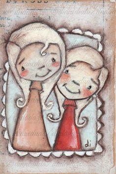 Original Folk Art Mini Painting on Wood  My Girls by DUDADAZE ©dianeduda/dudadaze
