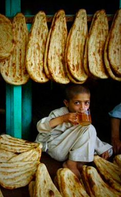 Drinking tea in a Bakery . Afghanistan