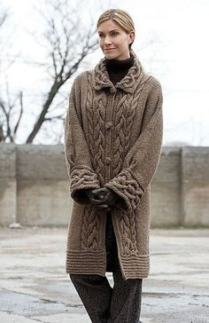 Classic knit warm coat with braids - the constant hit of any season because beautiful elegant classics like it This knitted coat joined the versatility and practicality of knitting a