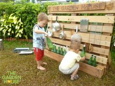 Our children are very busy at the music wall! It's a great DIY creation from pallets