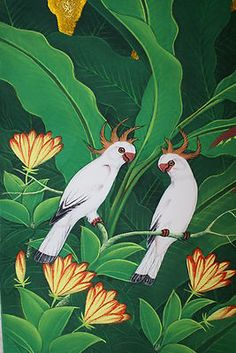 Handpainted Original Ubud Painting Signed Tropical Bird Cockatoo Flora DUBBS69.  For any questions or If you cannot locate this listing right away, please contact us at cheetahdmr@aol.com