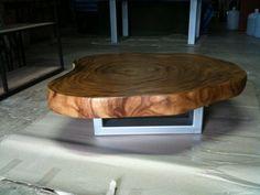 Dalle pleine en bois bord direct Table basse Acacia recyclée