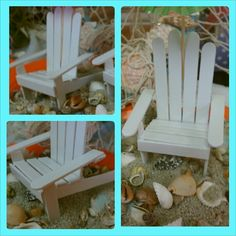 Find this Pin and more on CRAFTS. little beach chair made out of popsicle sticks Mais Popsicle Stick Crafts, Popsicle Sticks, Craft Stick Crafts, Crafts For Kids, Diy Crafts, Fairy Garden Furniture, Fairy Garden Houses, Fairy Gardens, Miniature Furniture