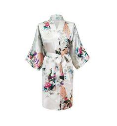 Silk Satin Wedding Bride Bridesmaid Floral Short Fashion Dressing Gown For Women