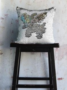 One of our best sellers!   This Matte Rice + Silver Mermaid Sequined Pillow is the perfect addition to any space!   { mermaidpillowco.com
