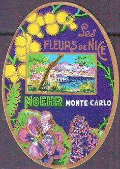 Les Fleurs de Nice by Moehr, Monte Carlo.  Vintage powder label.