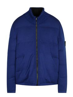 Multi Bag Knit Down Jacket in Blue - Stone Island
