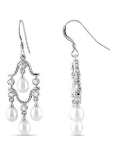 STERLING SILVER CHANDELIER EARRINGS WITH 1.5MM RD CZ & 4-4.5MM FW RICE PEARLS
