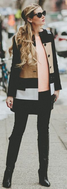 Club Monaco Coat + 7FAM Pants + Elizabeth And James Sweater + Steve Madden Boots by Barefoot Blonde