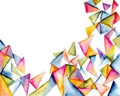 Jenna Decker, jennadecker.wordpress.com/blog Geometric Triangles, art print, Watercolor
