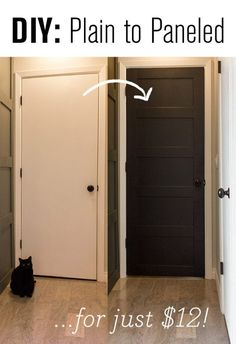 DIY Plain Door to Paneled Door - Quick and easy way to make your hollow core doors look super expensive! Description from pinterest.com. I searched for this on bing.com/images