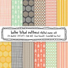 tribal patterns digital paper, girls photography background papers, pink aqua gray mustard triangles arrows dots crosshatch - 440. $5.00, via Etsy.