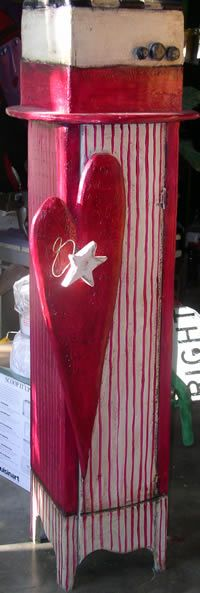 red and white striped heart Box w/ Removeable Lid by luson