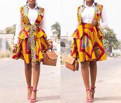 Ankara Flared Skirt with Jacket African Print by MyAnkaraLove