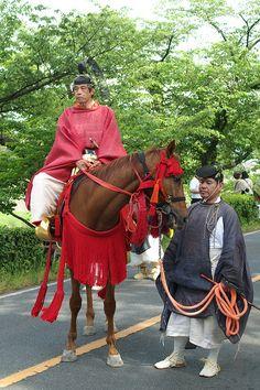 aoi-matsuri. A Gentleman on horseback with his attendant .