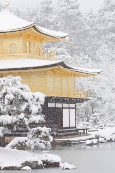 Kinakaku-ji temple in snow, Kyoto, Japan  - Double click on the photo to Design Sell a #travel itinerary to #Japan at http://www.guidora.com