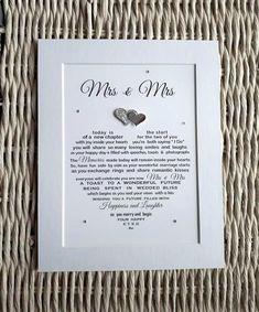 Personalised Lesbian//Gay Couple Wedding Mrs /& Mrs Word Art Print