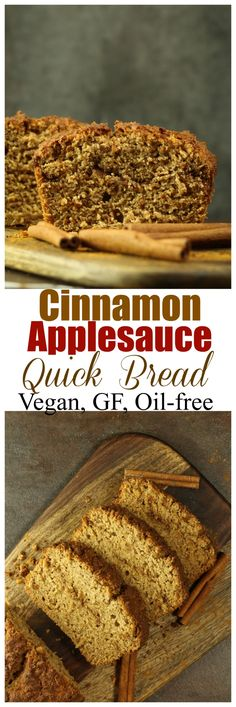 The most delicious Vegan and Gluten-free Cinnamon Applesauce Quickbread! So moist and full of cinnamon flavor and with a wonderful, crunchy sweet topping. Dairy-free, oil-free and just 8 ingredients. Brownie Desserts, Oreo Dessert, Mini Desserts, Coconut Dessert, Sin Gluten, Vegan Gluten Free, Dairy Free, Bread Recipes, Whole Food Recipes