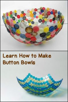 Got a lot of old buttons laying around your home? Why not make this fantastic bu… Got a lot of old buttons laying around your home? Why not make this fantastic button bowl! New Crafts, Easy Diy Crafts, Creative Crafts, Crafts To Sell, Paper Crafts, Button Bowl, Button Art, Diy Buttons, Diy Crafts
