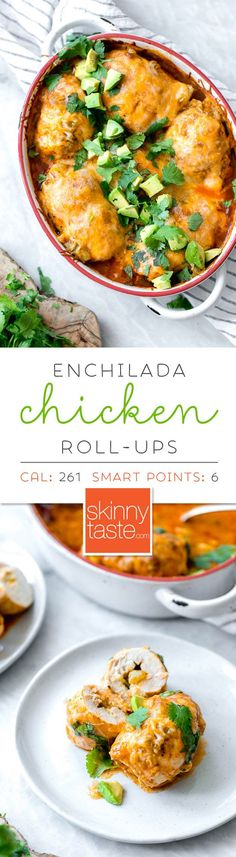 Chicken breasts on their own can be a bit boring. Roll 'em up with cheese and green chilis, smother them in enchilada sauce and more cheese and now you're talking. These Enchilada Chicken Roll-Ups give you authentic enchilada flavor without all the work, calories or fat. And you won't even miss the tortillas!