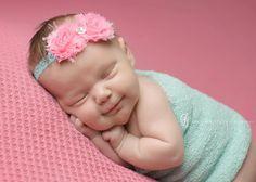 newborn girl pink aqua | Aqua Baby Headband. Pink and Aqua Baby ... | Baby Headbands - Newborn ...