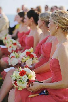 Punta Mita Wedding from Hillary Maybery Amsale Bridesmaid, Bridesmaid Duties, Bridesmaids And Groomsmen, Coral Bridesmaids, Bridesmaid Dresses, Cat Wedding, Wedding Looks, Perfect Wedding, Dream Wedding