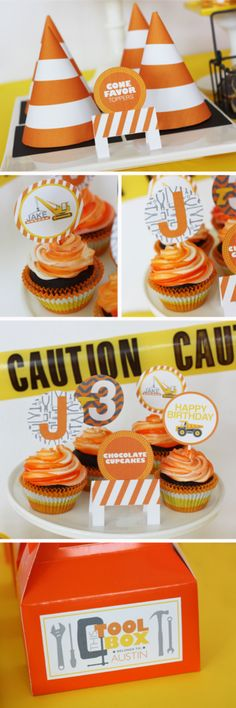 $5 each, 6-design cupcake toppers, barricade food labels. By Wants and Wishes