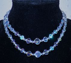 Vintage AB Bohemian Czech Crystal Double Strand Choker Necklace Multi Faceted  #Choker