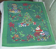 VINTAGE CHRISTMAS TEA TOWEL - craft fabric | eBay