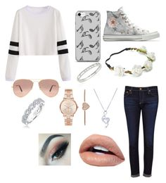 """Katie"" by ellaxbrooke on Polyvore featuring AG Adriano Goldschmied, Converse, Candie's, BERRICLE, Music Notes, Ray-Ban, Michael Kors, Messika and Karl Lagerfeld"