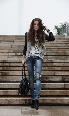 Casual look. Jeans and jacket
