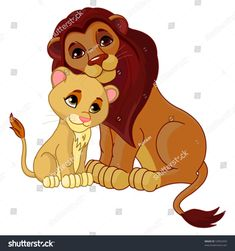 Royalty Free Clipart Image of a Lion and Cub Simba Et Nala, Jungle Animals, Baby Animals, Cute Animals, Image Lion, Nursery Drawings, Animal Symbolism, Royalty Free Clipart, Tigers