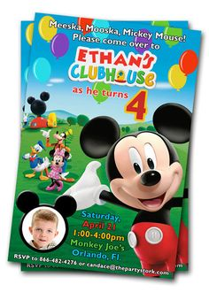Mickey Mouse Clubhouse Birthday Invitations, Printable Mickey Mouse Clubhouse Invites with Photo