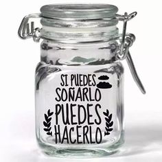 Vinilos Decorativos Frases Para Frascos,vasos X 12 Unidades - $ 100,00 Bottles And Jars, Mason Jars, Cat Cafe, Jar Gifts, Vintage Decor, Piggy Bank, Baby Shower, Diy Crafts, Lettering