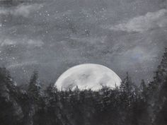 Starry Night Over the Moon by Ed Capeau Painting Print on Wrapped Canvas