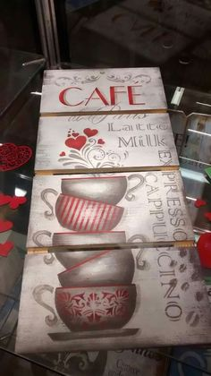 Cute sign for a coffee shop or a home kitchen. Pallet Picture Frames, Mirrored Picture Frames, Coffee Cup Art, Coffee Shop, Arte Pallet, Wood Crafts, Diy And Crafts, Foto Transfer, Decoupage Vintage