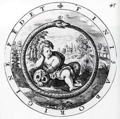 Ouroboros as emblem of mortality, from George Wither's A Collection of Emblems, Ancient and Modern, 1635