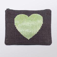 sequin heart pouch