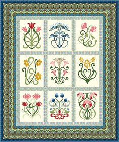 Arts and Crafts Sampler Quilt Kit - In The Beginning Fabrics Hand Applique, Applique Quilts, Quilt Kits, Quilt Blocks, Applique Designs, Quilting Designs, Applique Ideas, Craft Patterns, Quilt Patterns