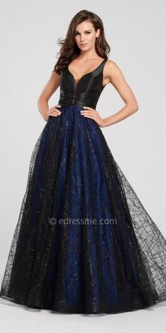 b1fb3ed0290 Sleeveless Low Back Glitter Tulle A-line Prom Dress by Ellie Wilde for Mon  Cheri