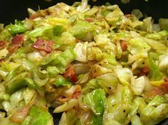 Fried Cabbage with Bacon and Onions ~Cook 3 slices chopped BACON. When the bacon starts to crisp add 1/2 large chopped ONION, 1 tbsp WORCHESTERSHIRE, 1 medium head chopped CABBAGE and SALT & PEPPER to taste.  Stir occasionally until cabbage is softened.  I like some pieces to get a little pan browned so I don't stir very often.