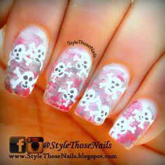 Bones and Skull - Halloween nail art for more http://stylethosenails.blogspot.com/2014/10/bones-and-skull-halloween-nail-art.html