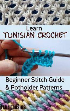 Learn Tunisian Crochet: Beginner Stitch Guide & 6 Easy Potholder Patterns by Tara Cousins, http://www.amazon.com/dp/B00HX3RK3C/ref=cm_sw_r_pi_dp_A4e3sb1QA38JJ ༺✿ƬⱤღ http://www.pinterest.com/teretegui/✿༻