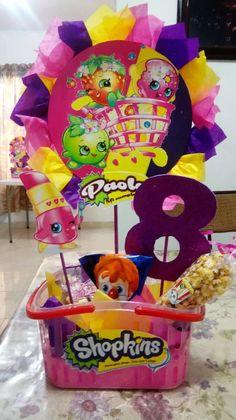 shopkins arreglos de mesa para fiestas Kids Centerpieces, Birthday Party Centerpieces, Diy Birthday Decorations, Kids Birthday Themes, 9th Birthday Parties, Kid Parties, Girl Spa Party, Sleepover Party, Shopkins Bday