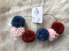 Hoop earrings with three pom pom colors. Hoops measure 3 inches in diameter. Diy Yarn Earrings, Diy Leather Earrings, Crochet Earrings, Macrame Earrings, Jewelry For Her, Diy Jewelry, Jewelry Making, Easter Crafts For Kids, Kid Crafts