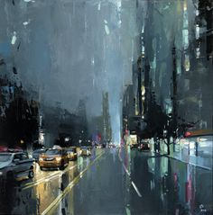 """""""Central Park West""""  by  Victor Bauer Oil on board, 20"""" x 30""""."""