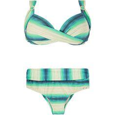 La Playa Plus Size Swimwear - Plus Ombre ($130) ❤ liked on Polyvore featuring swimwear, bikinis, underwire push up bikini, underwire bikini, plus size underwire bras, shelf bra and push up bikini