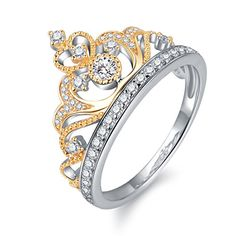 294995b78 Yellow & White Gold Plated 925 Sterling Silver Princess Crown Ring - Top  Tiara Ring Gift