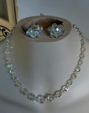 Vintage Silver Tone Aurora Borealis Clear Crystal Bead Necklace Clip Earring Set